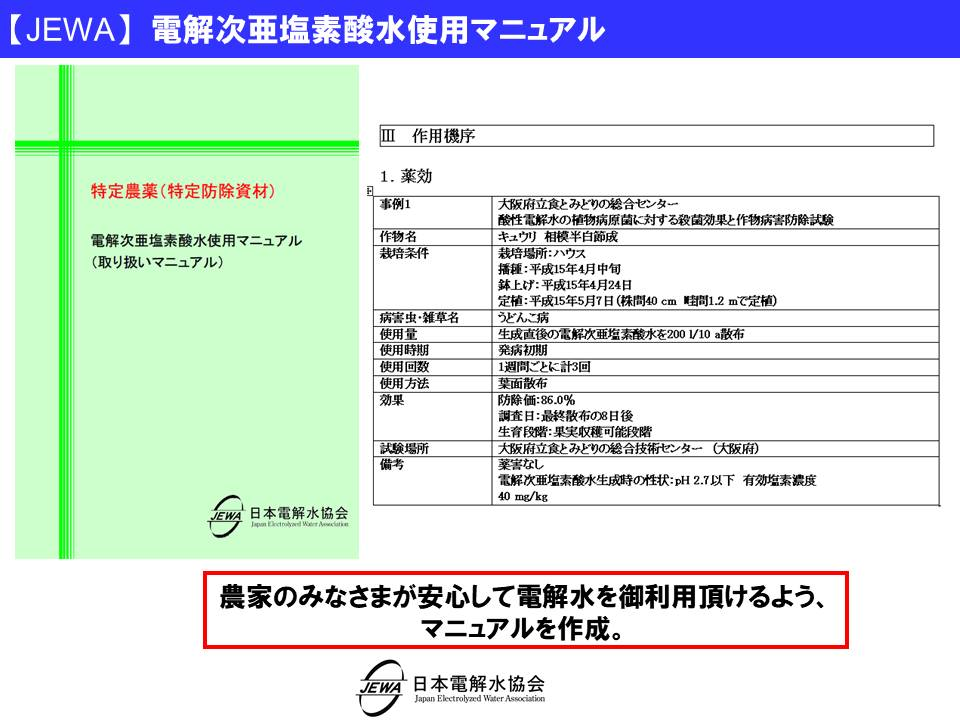 【JEWA】 電解次亜塩素酸水使用マニュアル