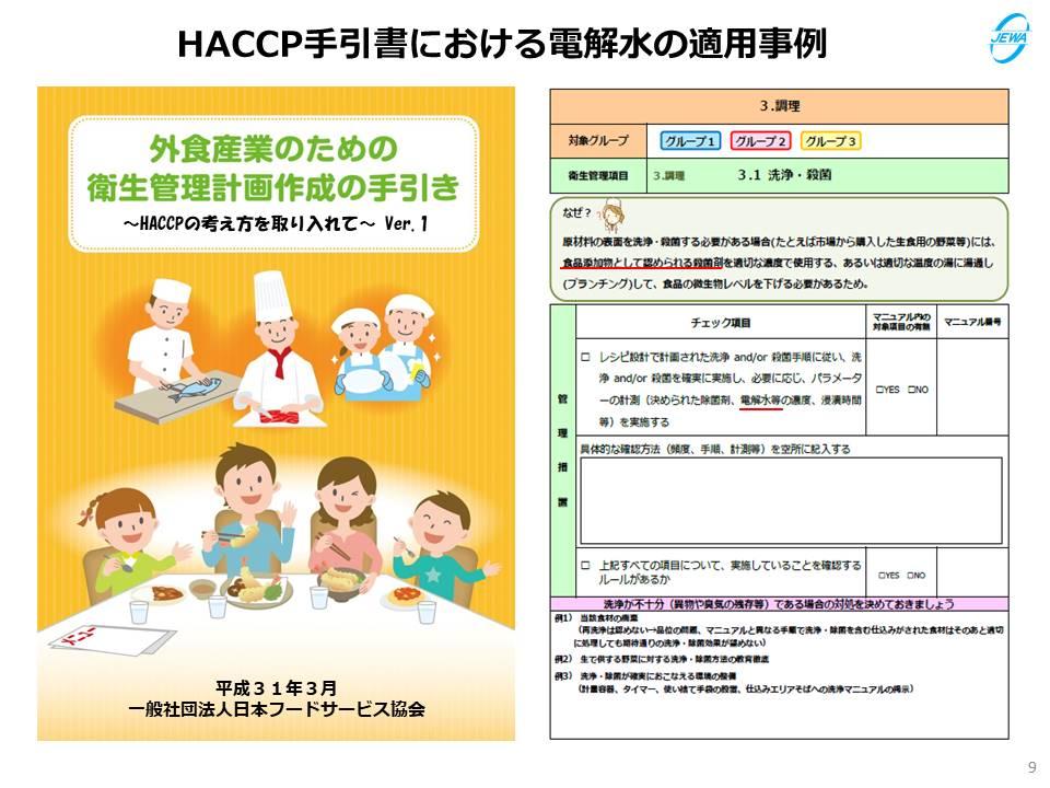 HACCP手引書における電解水の適用事例